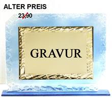 """Glastrophäe inkl. Zierplatte gold """"-25% Rabatt-Aktion"""":   3-färbige Glastrophäe inkl. goldener Zierplatte für Ihre persönliche Widmung"""