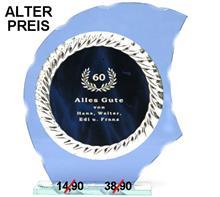 "Glastrophäe inkl. Platte Ø11cm ""-25% Rabatt-Aktion"":   Blaue Glastrophäe inklusive blau-silber Gravurplatte.  Plattengrößen: Ø11cm"