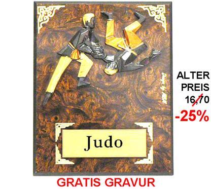 """Holzschild Judo """"-25% Rabatt-Aktion"""":   JUDO-Motiv aus Steingussmaterial 3-färbig bemalt auf einem Wurzelholzschild"""
