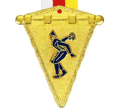 """Medaille Alpin 011 + Band:   MESSINGMEDAILLE """"ALPIN"""" in Wimpelform mit geprägtem und blau emailiertem Mot"""