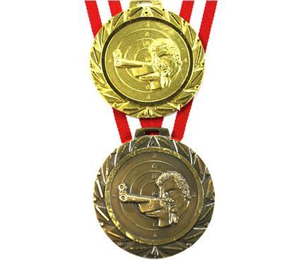 """Medaille Saturn 068 """"Gewehr"""" inkl. Band:   Besonders SCHWERE MESSINGMEDAILLE  mit Reliefmotiv """"GEWEHR"""",  effektvollem"""