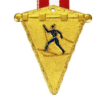 Medaille Alpin Langlauf + Band:   MESSINGMEDAILLE in Wimpelform  mit geprägtem und blau emailliertem Motiv