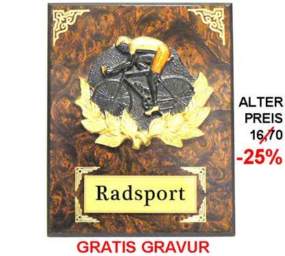"""Holzschild """"Radfahrer"""" """"-25% Rabatt-Aktion"""":   RADFAHRER- Motiv aus Steingussmaterial 3-färbig bemalt auf einem Wurzelholzs"""