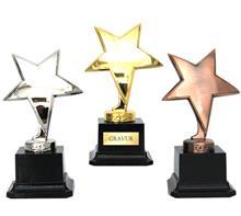 """Trophäe """"Stern"""" gold-silber-bronze:   Exklusive Trophäe """"STERN""""  Metallguß auf Kunstharzsockel,  Oberfläche:  g"""