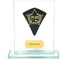 "Glastrophäe inkl. Wimpel ""Award"":   Glastrophäe inkl. schwarzem Wimpel mit Lasergravur ""Award""."