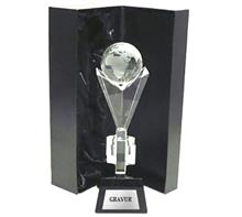 """Glastrophäe """"Weltkugel"""":   Kombination aus 18mm starkem Kristallglas  mit Ø40mm Weltkugel auf indigobl"""