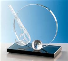 """Glastrophäe """"Golfschläger+Ball"""":   Exklusives Design - Glastrophäe  bestehend aus 10mm Glasrondo,  Golfschläg"""
