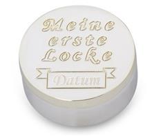"""Dose versilbert """"1. Locke"""":   Dose versilbert Ø4cm Höhe 1,6cm  Mit Text: """"Meine erste Locke"""" und Gravurfe"""
