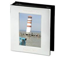 Fotoalbum versilbert 10x15:   Fotoalbum glatt poliert und versilbert, anlaufgeschütz für 100 Fotos.  Grav