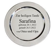 Teller versilbert:   Versilberter Teller Ø35cm mit dekorativem Rand für Ihre Wunschgravur.
