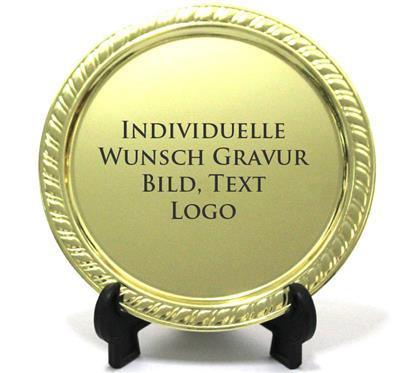 Zierteller gold:   Goldfarbener Metall-Zierteller.  Mit einer persönlichen Gravur für Ehrungen