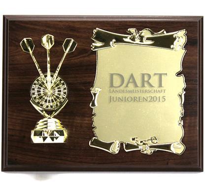 """Holzschild """"DART"""":   Braunes Holzschild 23x18cm  zum Hängen oder Stellen  mit Figur """"DARTSCHEIB"""