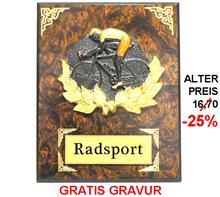 """Holzschild """"Radfahrer"""" """"-25% Rabatt-Aktion"""":   RADFAHRER- Motiv aus Steingussmaterial  3-färbig bemalt auf einem Wurzelhol"""