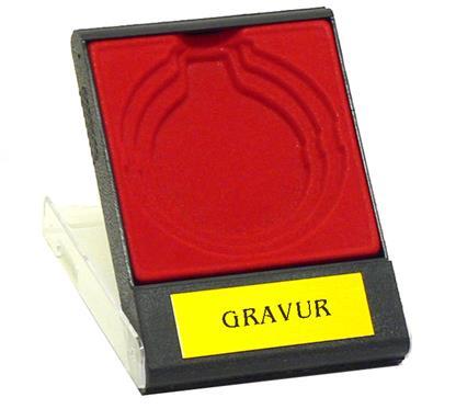 Etui Rot:    MEDAILLEN/MÜNZ-ETUI  Farbe ROT  Größe 9x11cm mit Klarsichtdeckel
