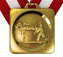 """Medaille Eiger Karate + Band:   MESSINGMEDAILLE mit geprägtem Motiv  """"KARATE"""" und DIAMANTSCHLIFFRAND.  Sto"""