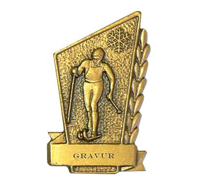 """Nadel """"Langlauf"""" bronze:   Anstecknadel """"LANGLAUF""""  in Farbe bronze  zum absoluten NETTO-Bestpreis!"""