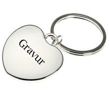 """Schlüsselkette Herz kurz:   Schlüsselanhänger """"Herz"""" vrsilbert.  Maße: 3cm x 3cm  Gravur: Monogramm, N"""