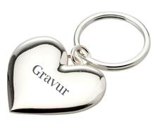 """Schlüsselkette Herz:   Schlüsselanhänger """"Herz"""" glatt poliert, versilbert.  Maße: 3,9cm x3,7cm Län"""