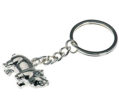 """Schlüsselkette Schwein:   Schlüsselhänger """"Glücks-Schweinchen"""", versilbert.  Länge 7,5cm"""