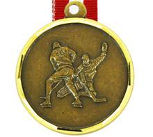 """Medaille Granat 013 + Band:   MESSINGMEDAILLE mit geprägtem Motiv  """"EISHOCKEY""""  und DIAMANTSCHLIFFRAND"""