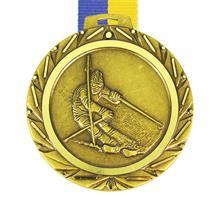 """Medaille Saturn Ski + Band:   SCHWERE MESSINGMEDAILLE  mit geprägtem Motiv  """"SKIFAHRER""""  und DIAMANTSCH"""