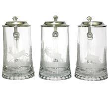 Glaskrug Reh-Hirsch-Wildsau:   Bierkrug 1/2l Kristallglas mit Zinndeckel, handgeschliffen.  Motive: Reh -