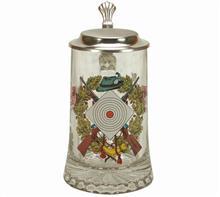 """Glas-Bierkrug Schütze:   Bierkrug Glas mit färbigem Motiv:  """"SCHÜTZEN"""" und Zinndeckel.  Höhe: 18cm"""