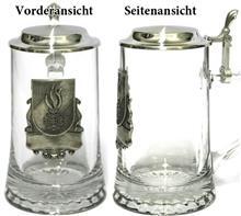"""Glaskrug Feuerwehr Zinnemblem 0,5l:   Stern-Boden-Seidel 0,5l  mit Zinnemblem """"FEUERWEHR"""".  Gravurmöglichkeit au"""