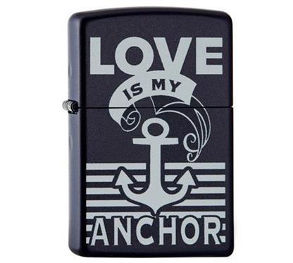 """Zippo """"Love is my anchor"""":   ZIPPO  Sturmfeuerzeug  """"Love is my anchor""""  Gravur auf Rückseite möglich!"""