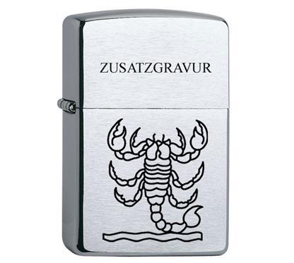 """Zippo inkl. Lasergravur Sternzeichen G15:   ZIPPO Sturmfeuerzeug  """"Regular chrom gebürstet""""   Inkl. Lasergravur schwa"""