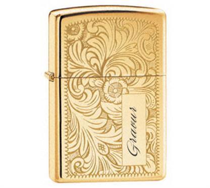 "Zippo ""Venetian gold"":   ZIPPO  Sturmfeuerzeug  ""Venetian gold""   Gravurvarianten:  2 Monogramm-"