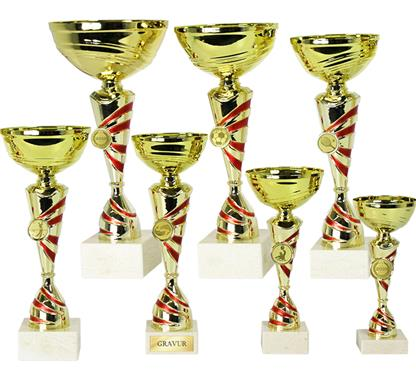 Pokal inkl. Motiv Ø25mm:   Pokal mit rot-goldenem Auflagenmittelstück inkl. Motiv Ø25mm Ihrer Wahl.