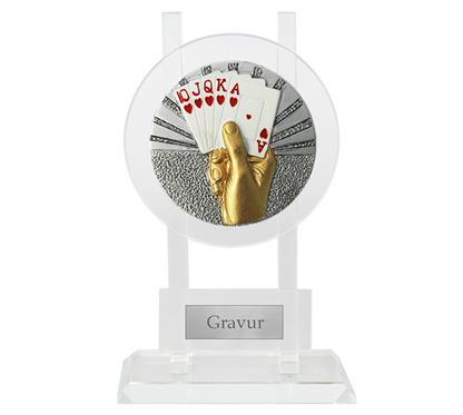 "Glastrophäe inkl. Motiv Blaze ""Kartenspiel"":   Glastrophäe inkl. Motiv Ø70mm ""KARTENSPIEL""."